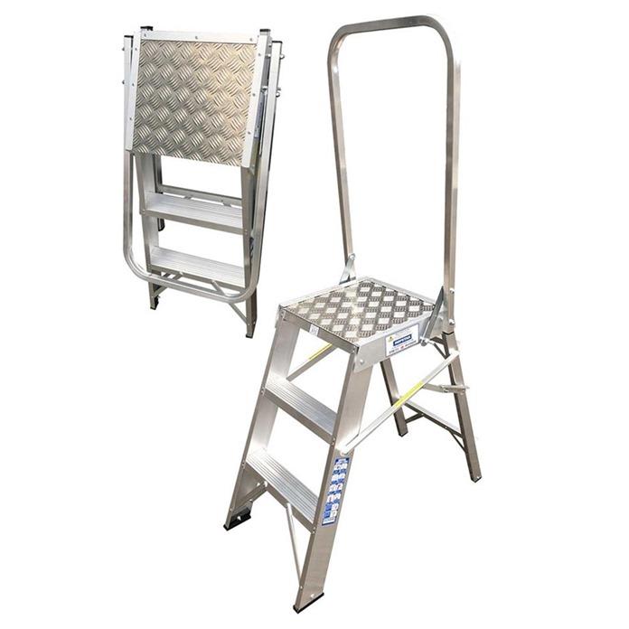 Hopstar Mini Folding Work Platform with handrail
