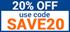 Use SAVE20 for 20% OFF